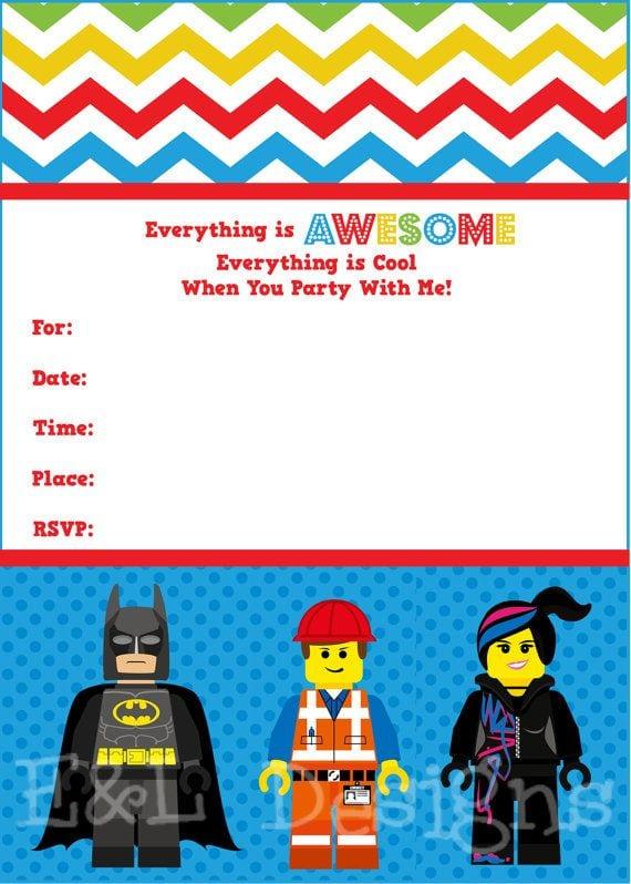 Printable Lego Movie Birthday Invitations
