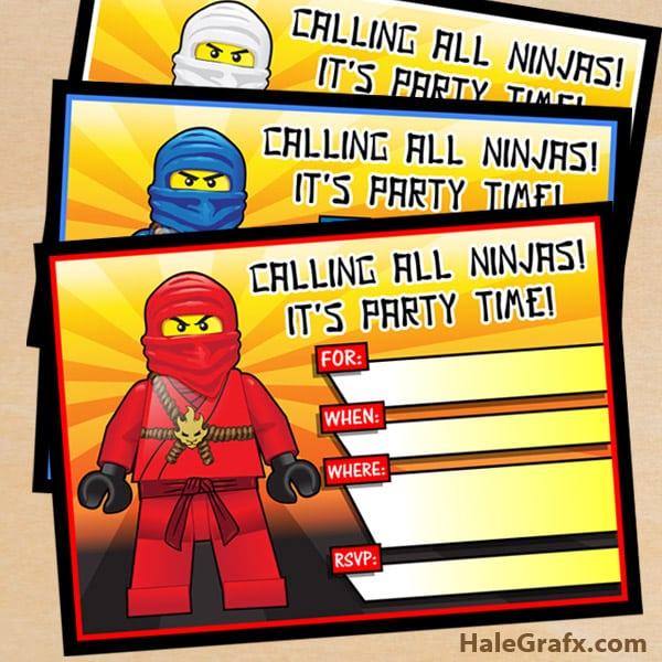 Printable Lego Ninjago Birthday Invitations