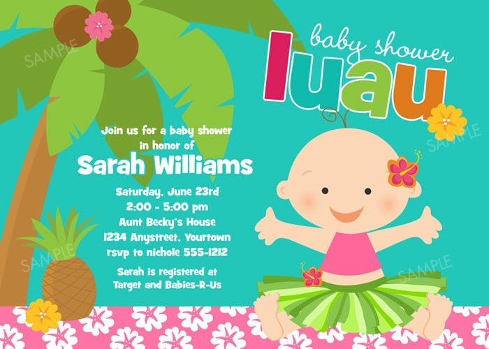 Printable Luau Baby Shower Invitations