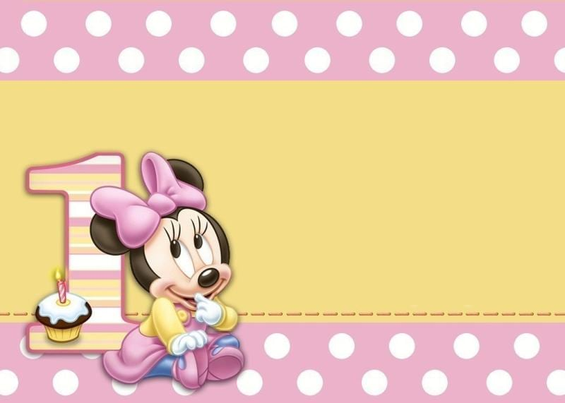 Printable Minnie Mouse 1 Year Birthday Invitation