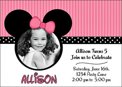 Printable Minnie Mouse Invitation Template