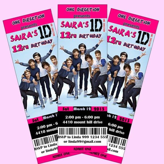 Printable One Direction Birthday Invitation