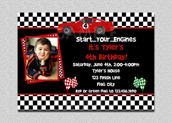 Printable Race Car Birthday Invitations