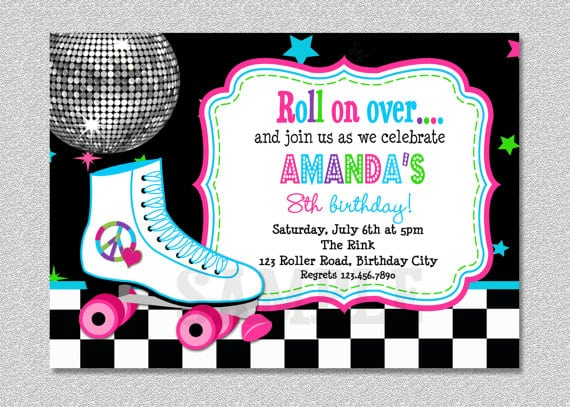 Printable Roller Skate Party Invitations