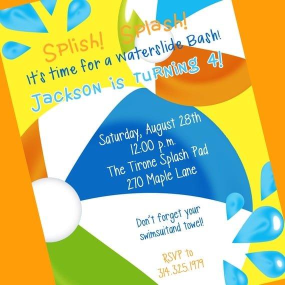 Printable Swimming Party Invitation