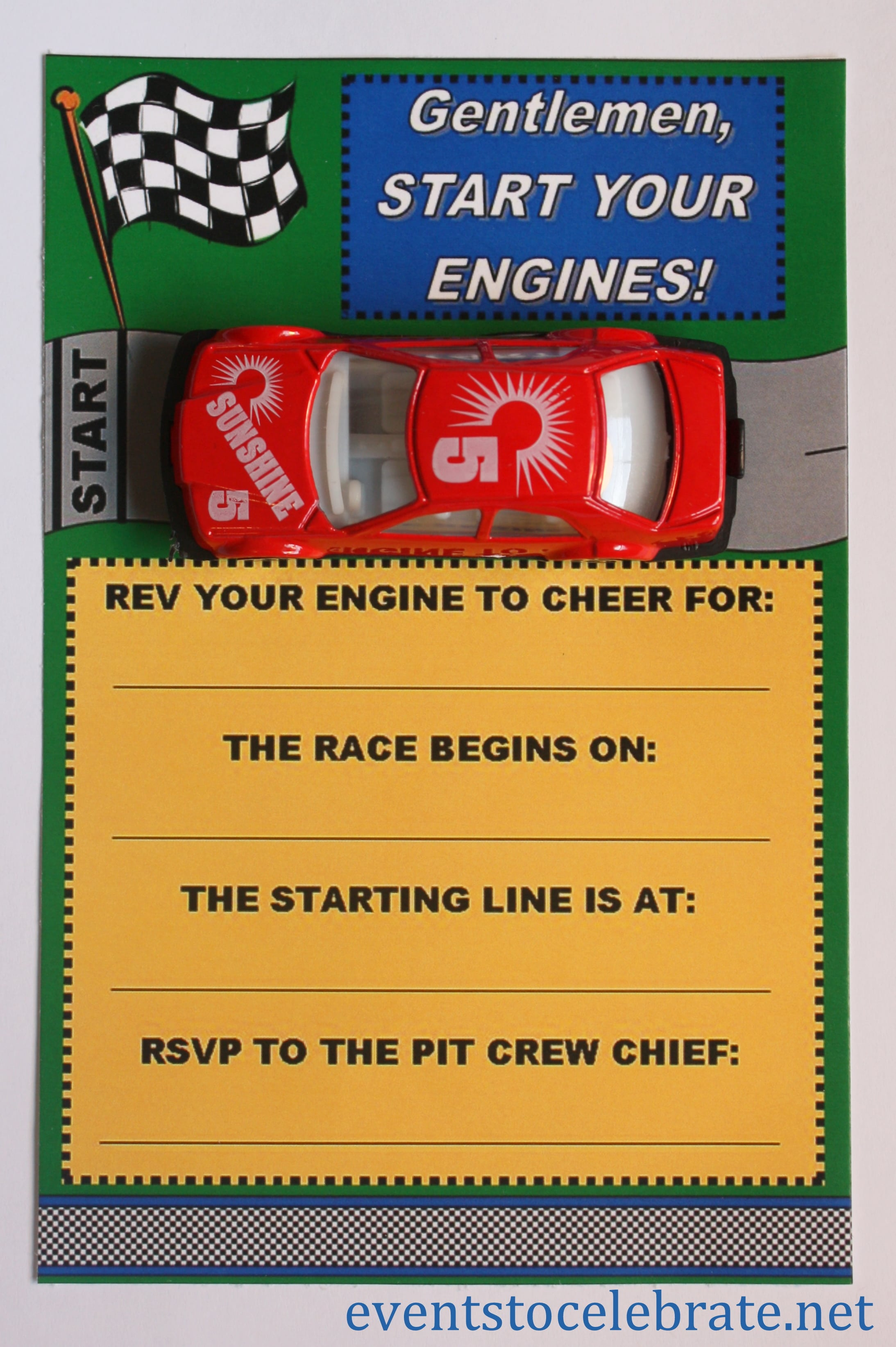 Race Car Invitation Free Printable