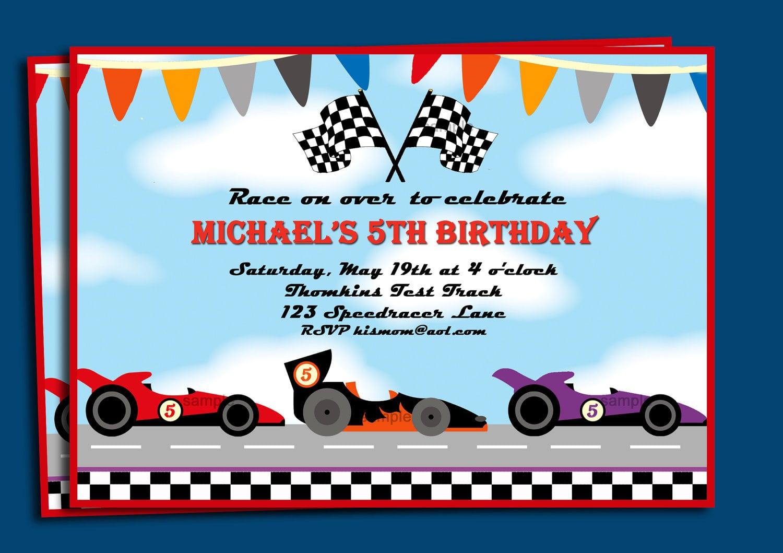Race Car Invitations Printable