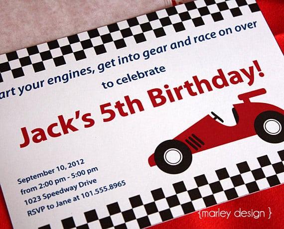 Racing Car Birthday Invitation Free Printable