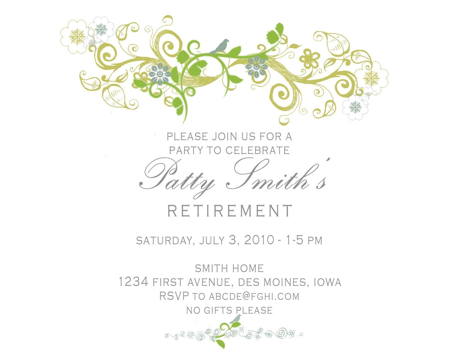 Retirement Invitation Card Template
