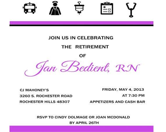 Retirement Invitations For Nurses