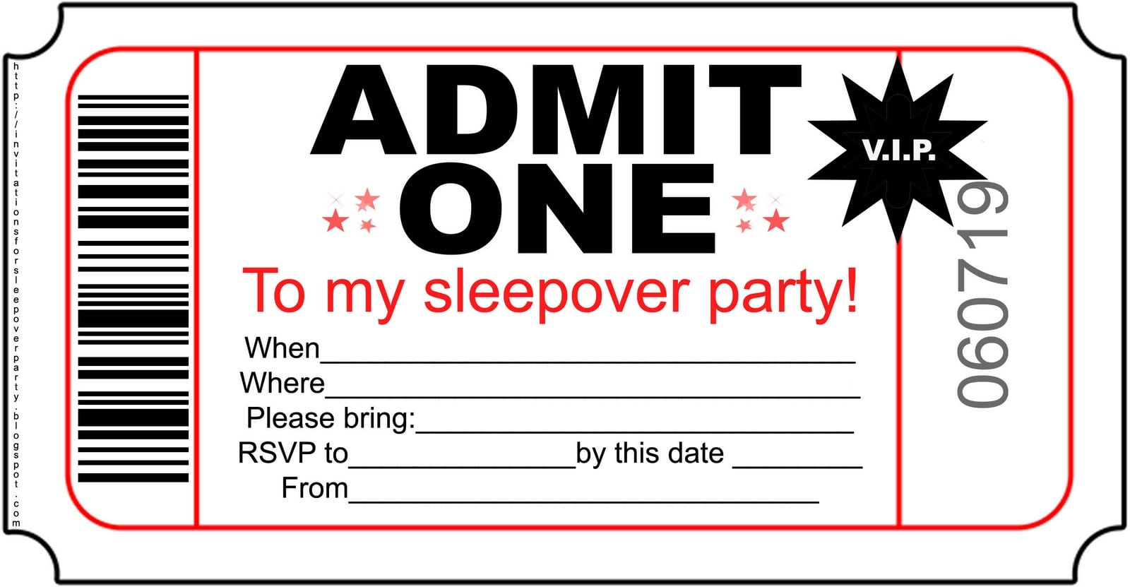 Slumber Party Birthday Invitations Printables