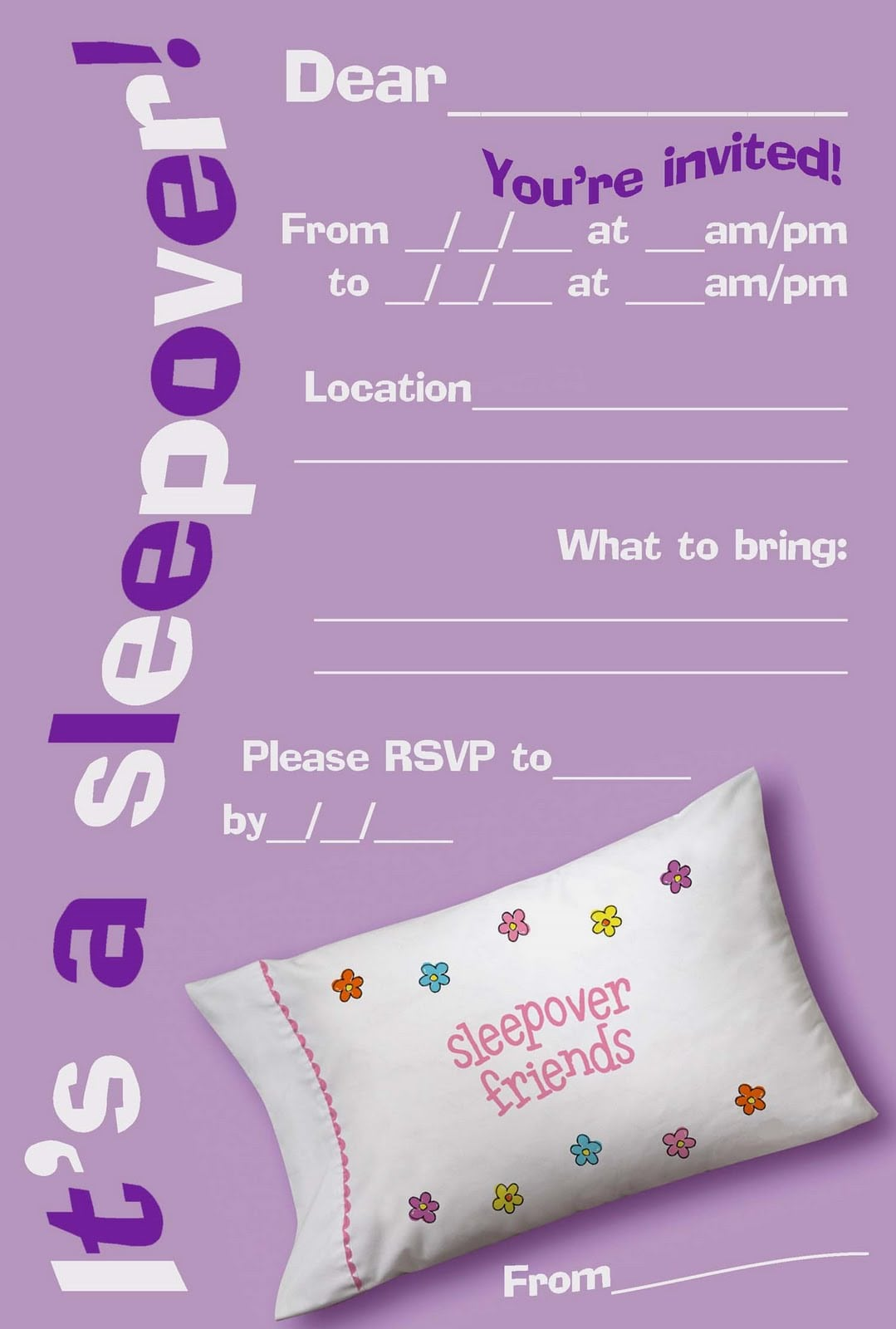 Spa Slumber Party Invitations Printable