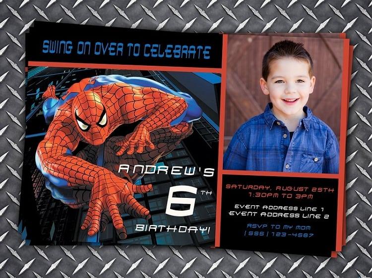 Spiderman Birthday Invitation Cards Printables