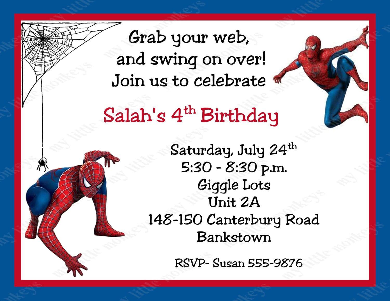 Spiderman Birthday Invitation Printable