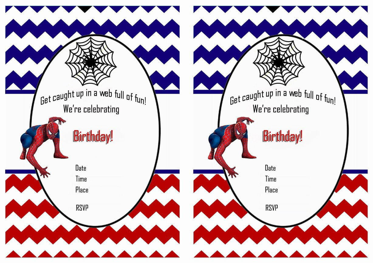 Spiderman Birthday Party Invitations Printable Free