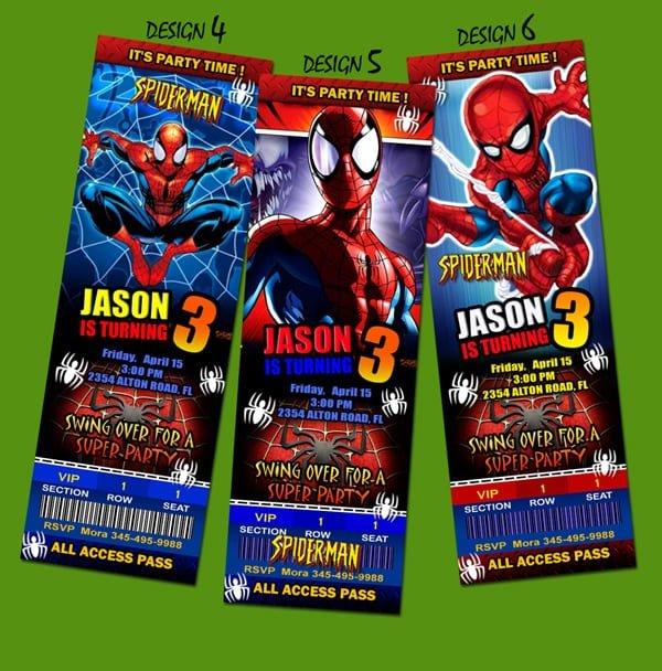 Spiderman Invitation Cards