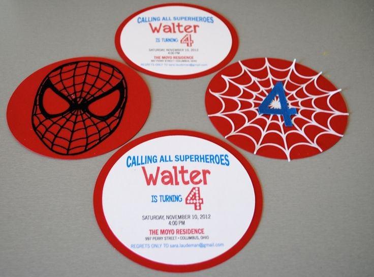Spiderman Invitation Cards Birthdays