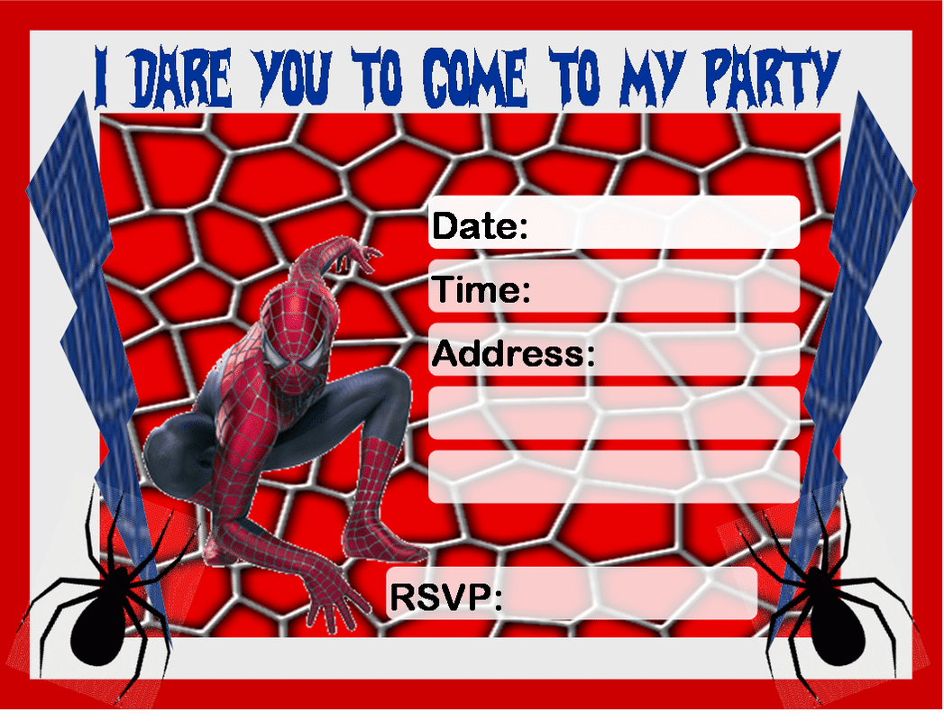 Spiderman Invitation Printable Free