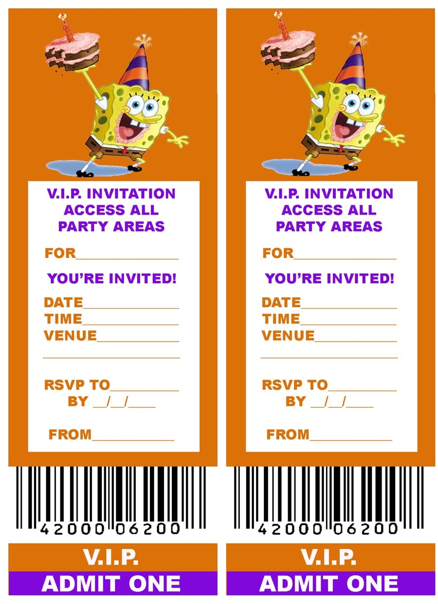 Spongebob Birthday Party Invitation Template Free Printable