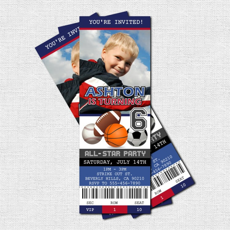 Ticket Birthday Invitation Template Free – Sports Ticket Invitation Template Free