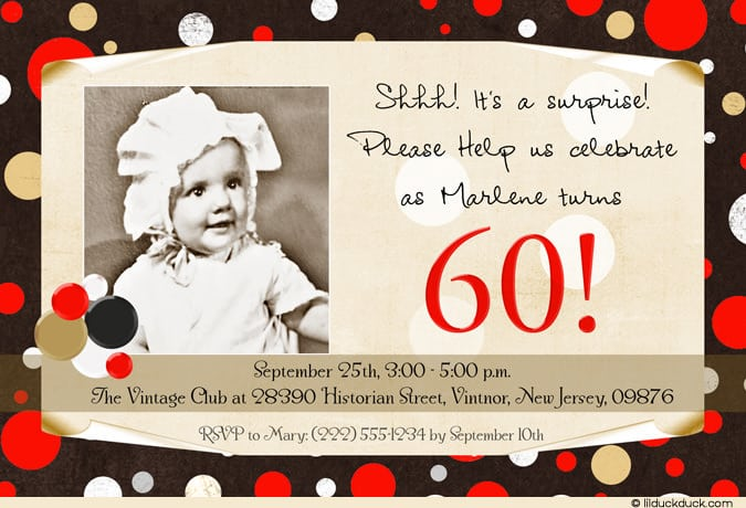 Surprise 60th Invitation Wording