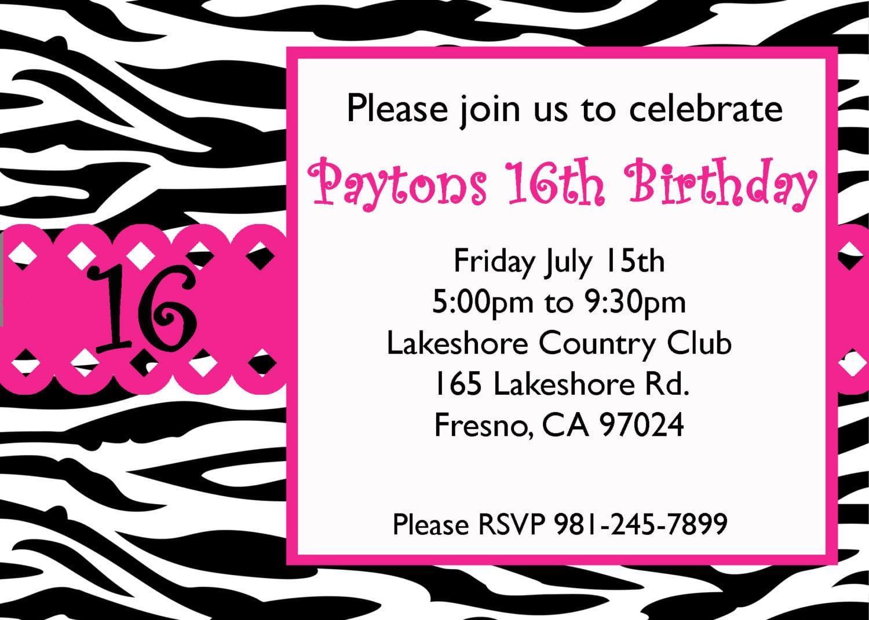 Sweet 16 Birthday Invitations Printable