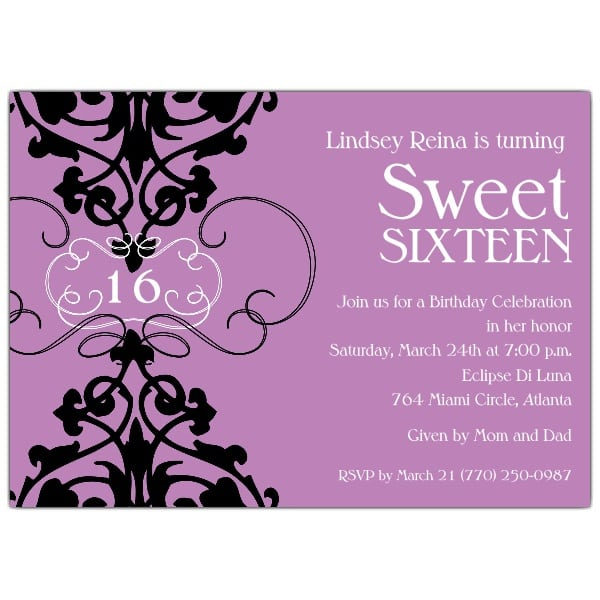 Sweet 16 Invitation Cards