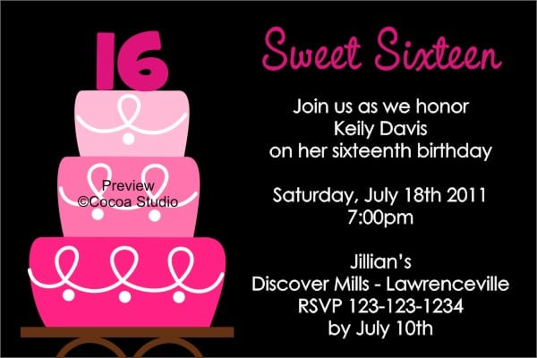 Sweet 16 Party Invitation Templates Free
