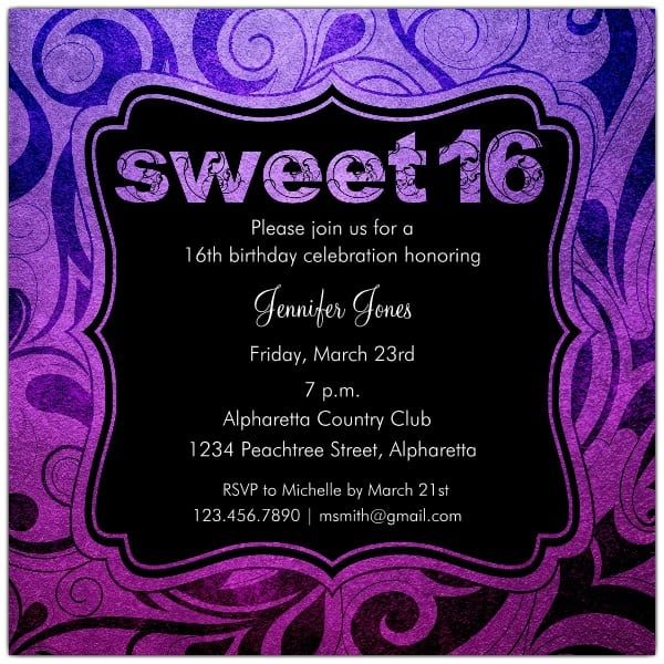 Sweet 16 Party Invitations