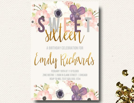 Sweet Sixteen Birthday Invitation Walgreens