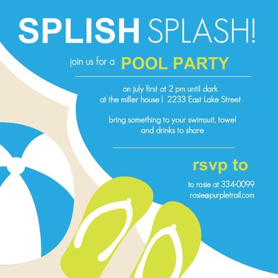 Child Pool Party Invitation Template Free - Swimming party invitation template free