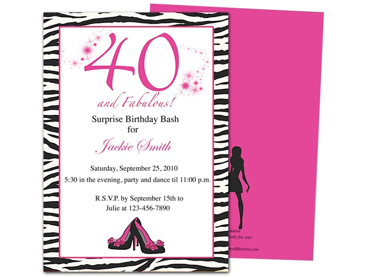 Template For 40th Birthday Party Invitation