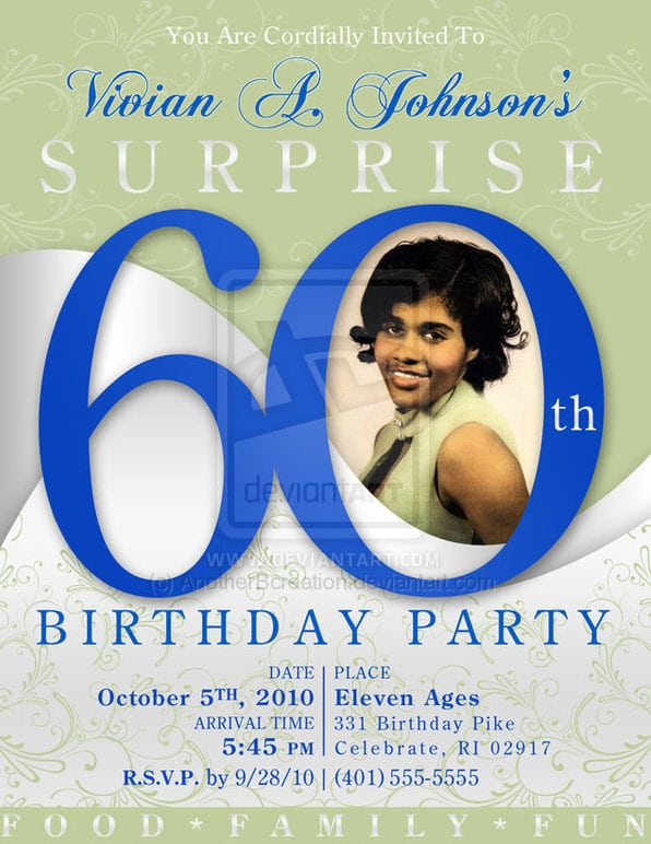 Template Of 60th Birthday Invitation