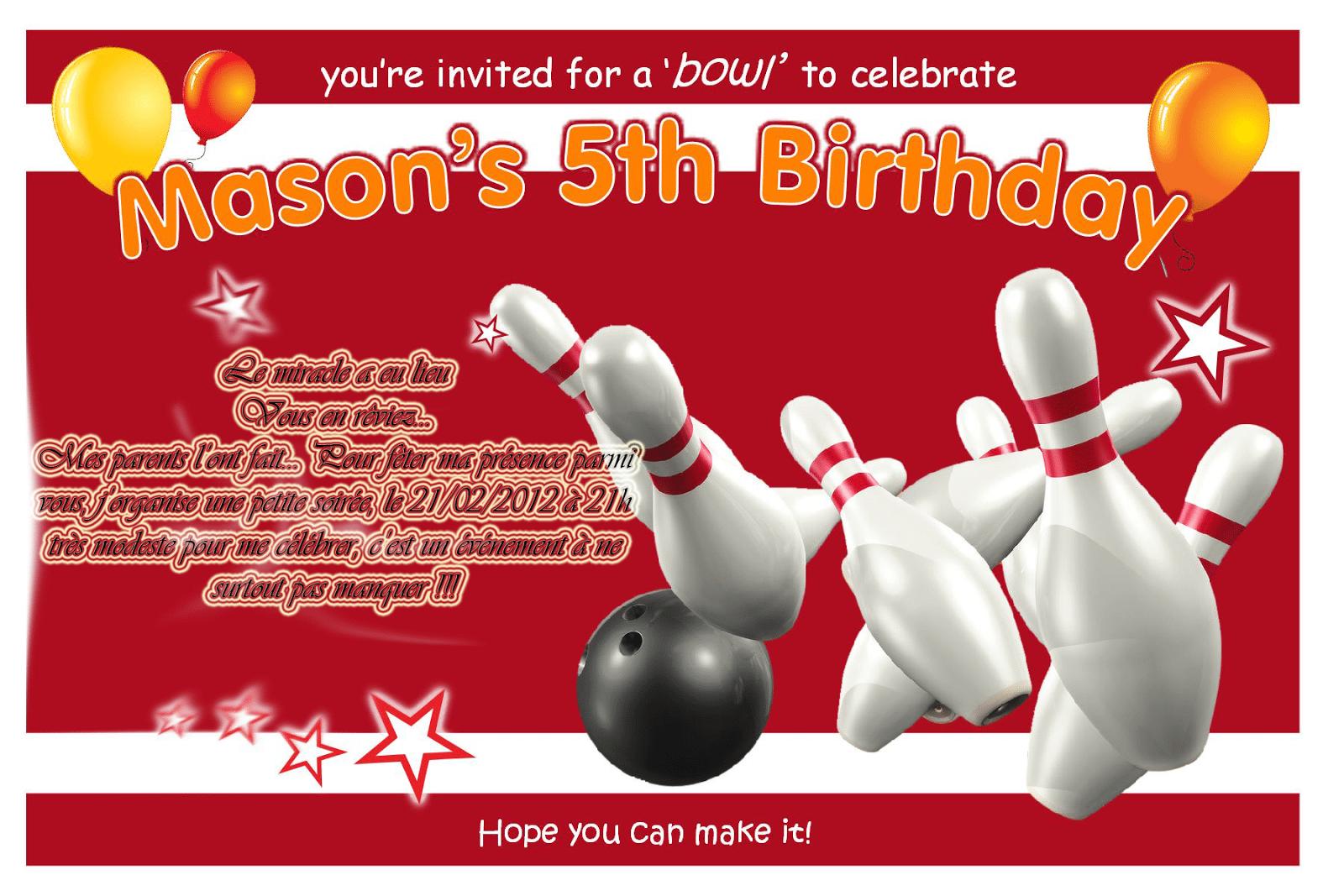 Ten Pin Bowling Birthday Invitation Templates