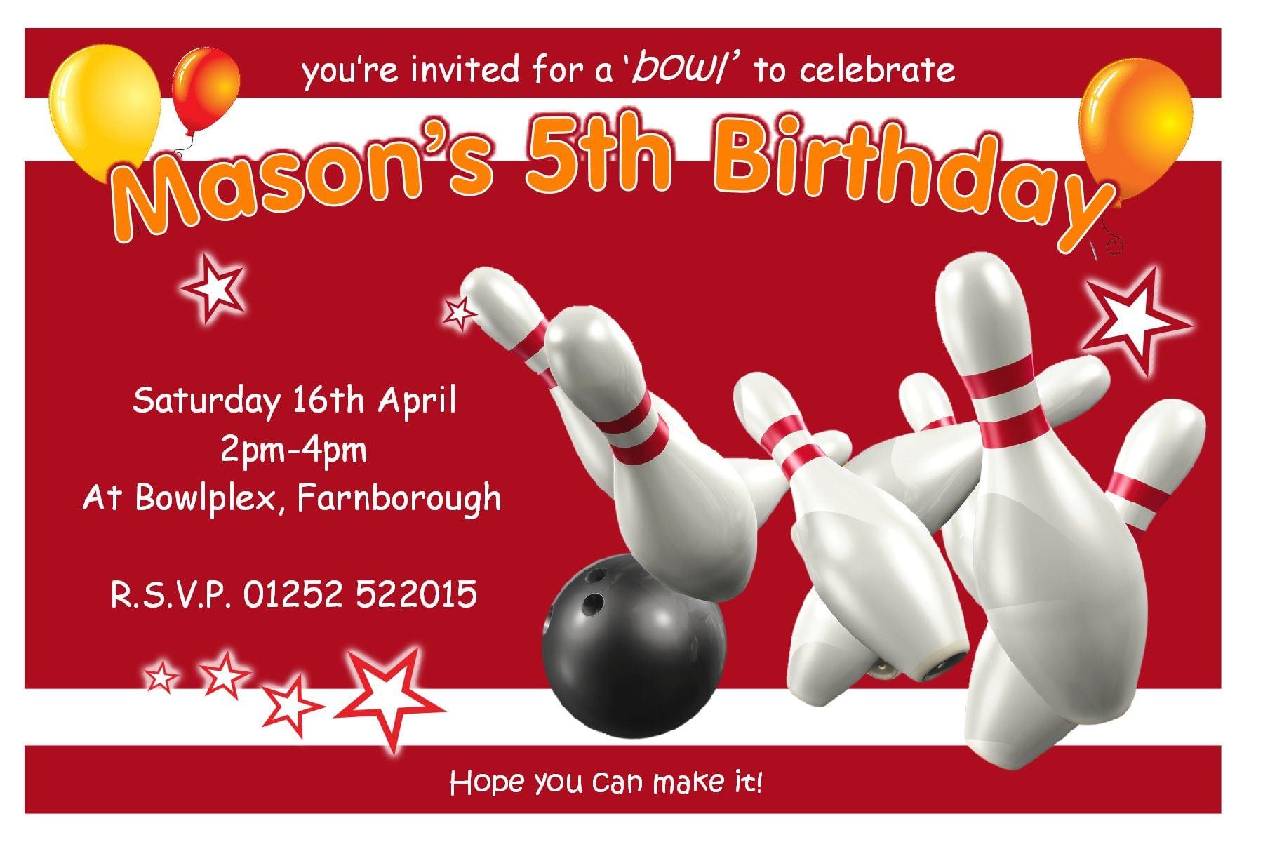 Ten Pin Bowling Birthday Invitations