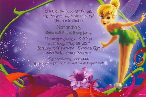 Tinkerbell Birthday Party Invitations Free