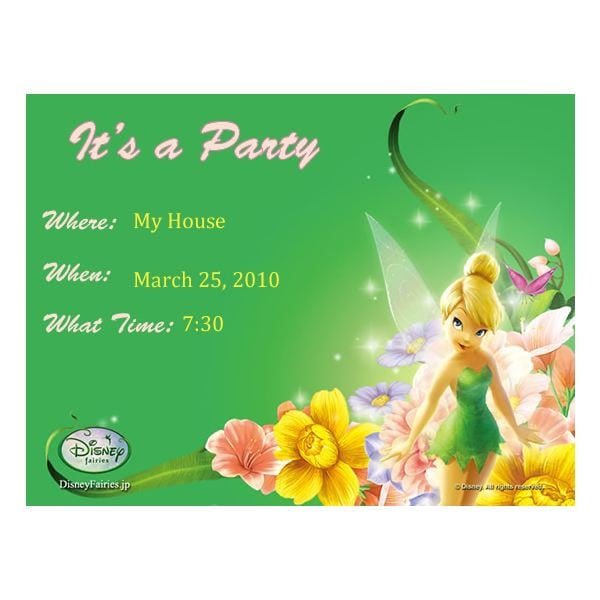 Tinkerbell Printable Invitations Free