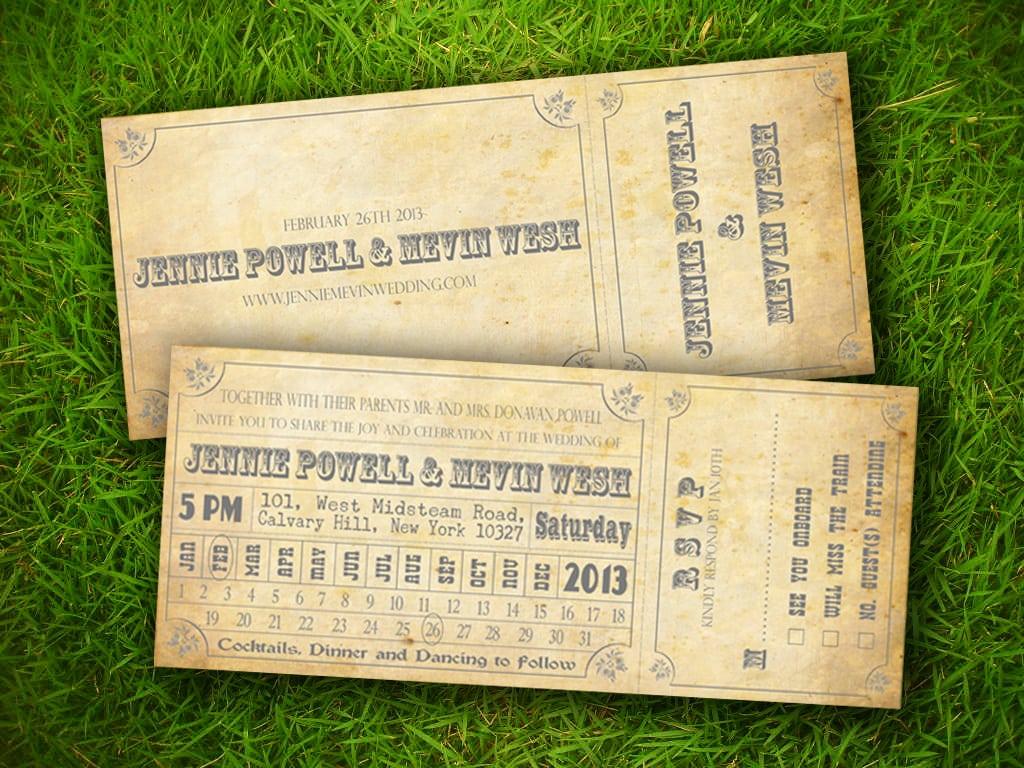 Vintage Train Ticket Invitation Template