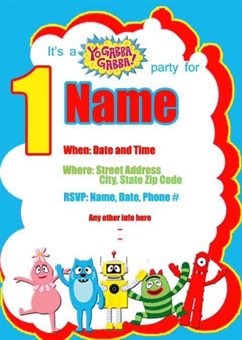 gabba gabba birthday invitation template, Birthday invitations