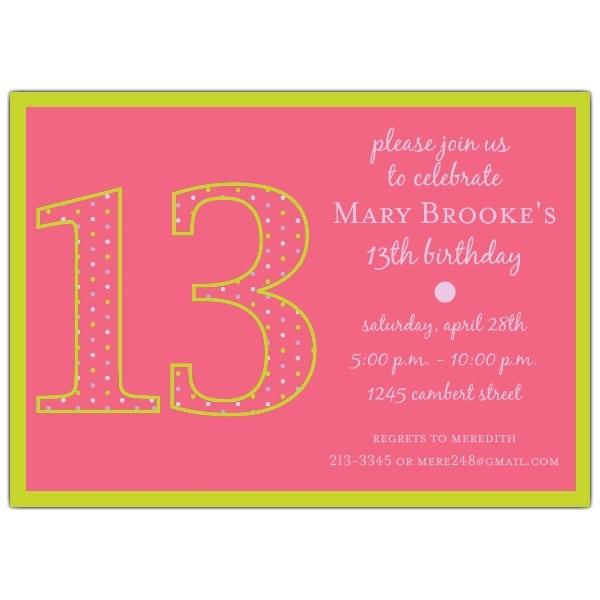 13th Birthday Invitation Ideas