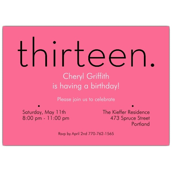13th Birthday Invitation Wording