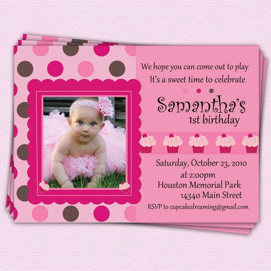 1st Birthday Invitation Girl Edit The Photo