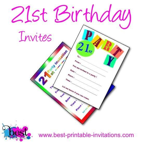 21st Invitations Free Printable