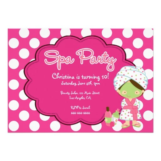 39;s Spa Party Invitations