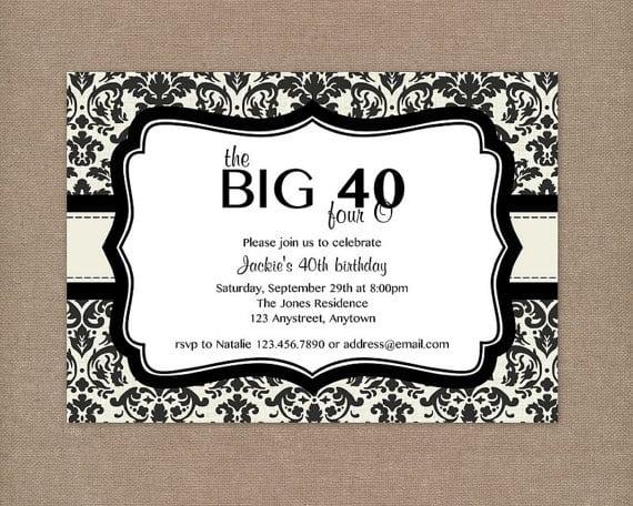 40th Birthday Invitation Free Printable