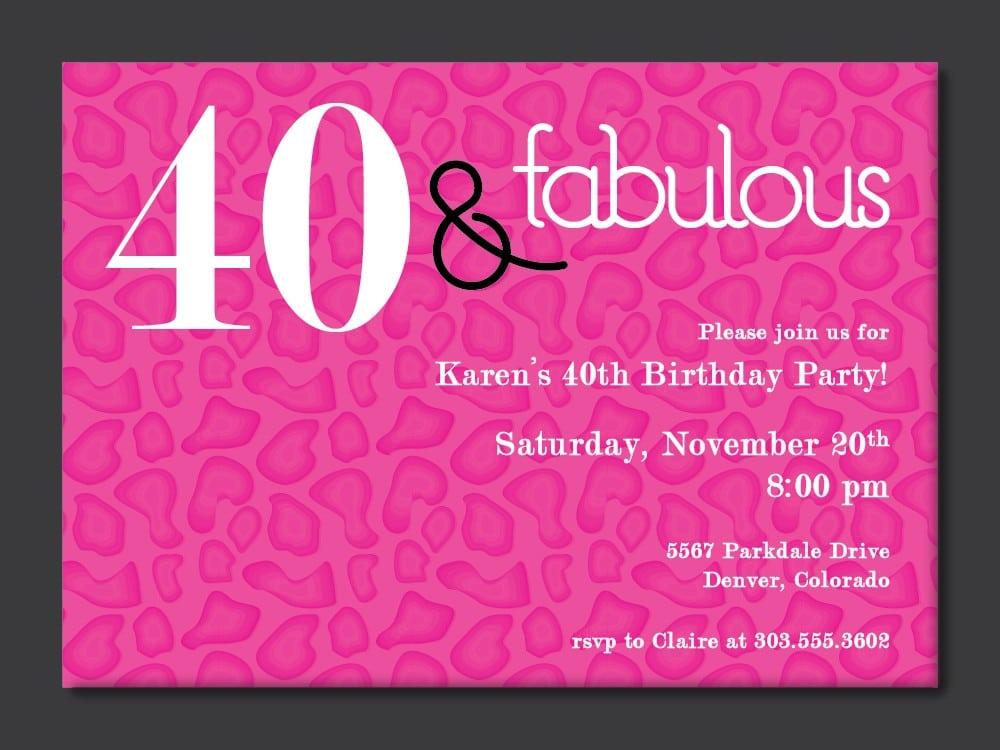 40th Birthday Invitation Printables