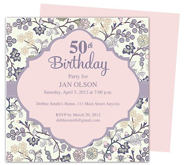 50th Birthday Party Printable Invitations