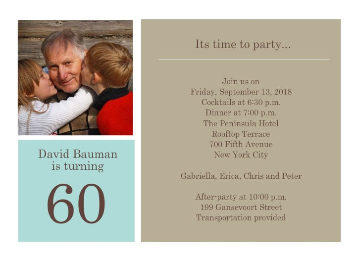 60th Birthday Party Invitation Templates Free Download