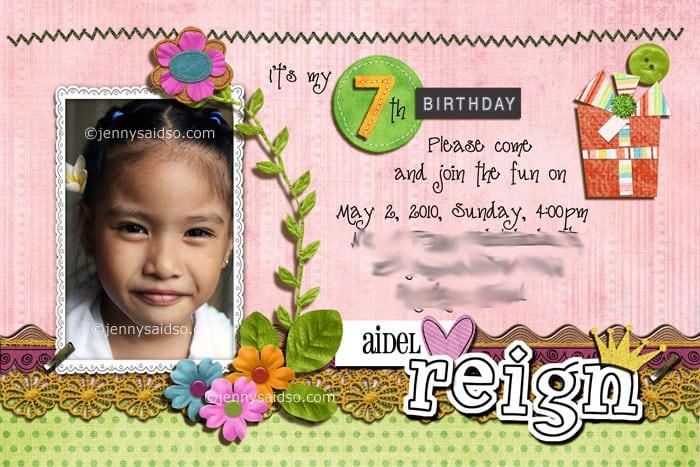 7th Birthday Invitation Layout