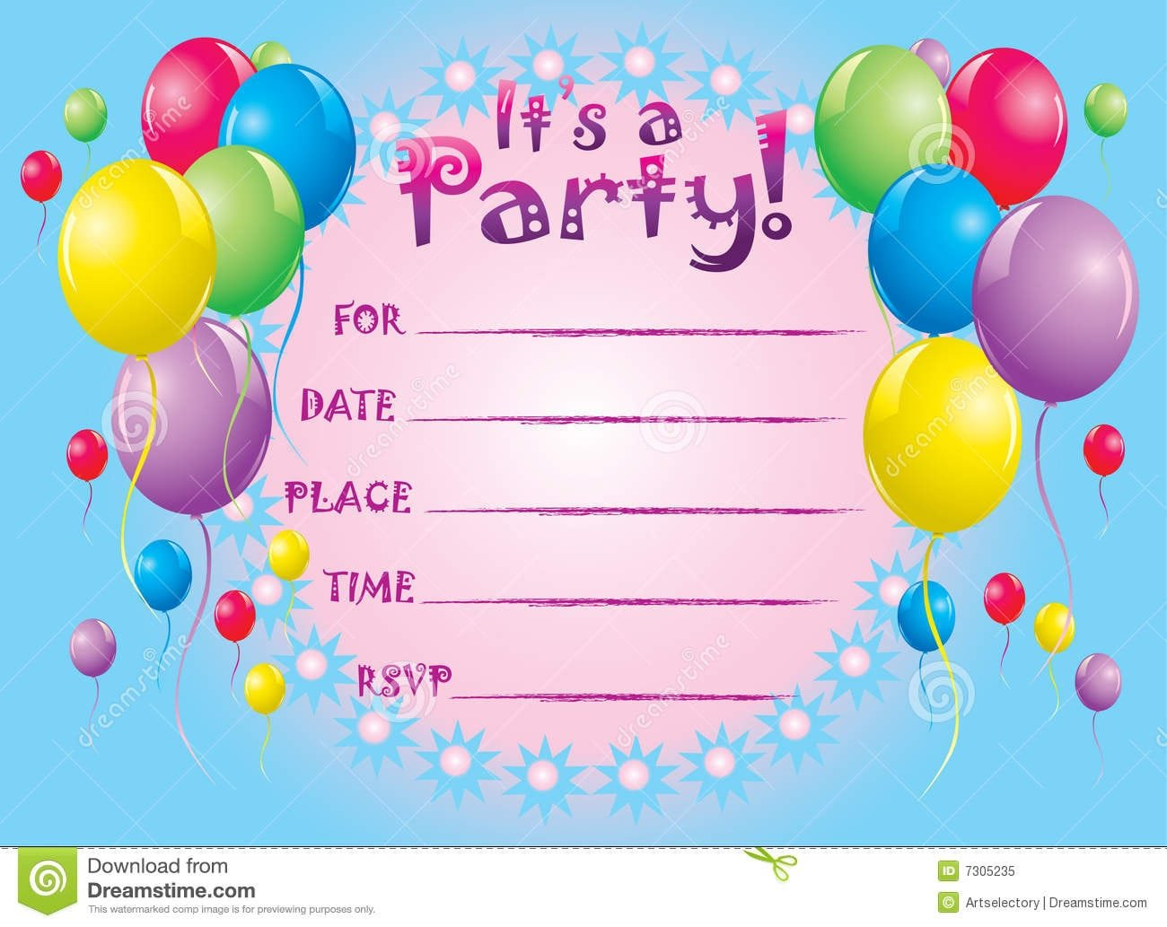 An Image Of Invitation Card For Birthday Party